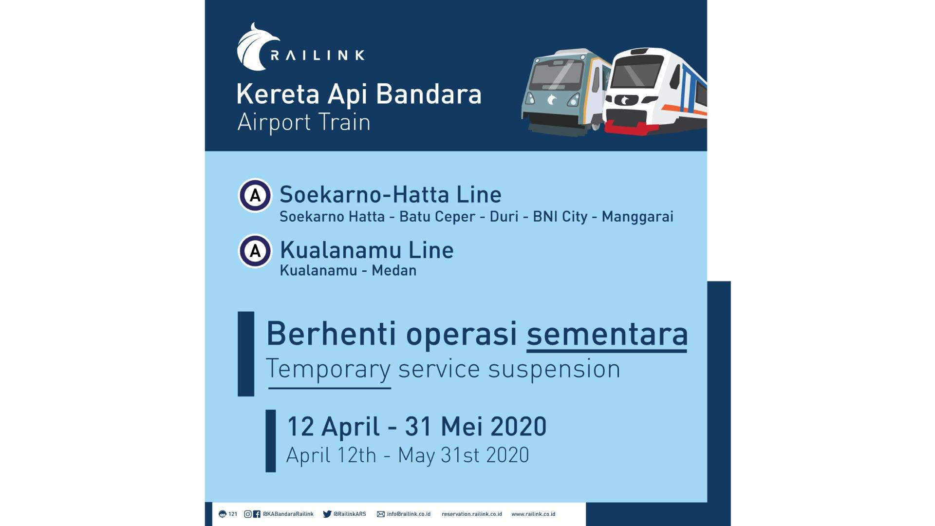 Anticipating the Spread of Covid-19, From 12 April to 31 May 2020 Railink Airport Train temporarily stops operating