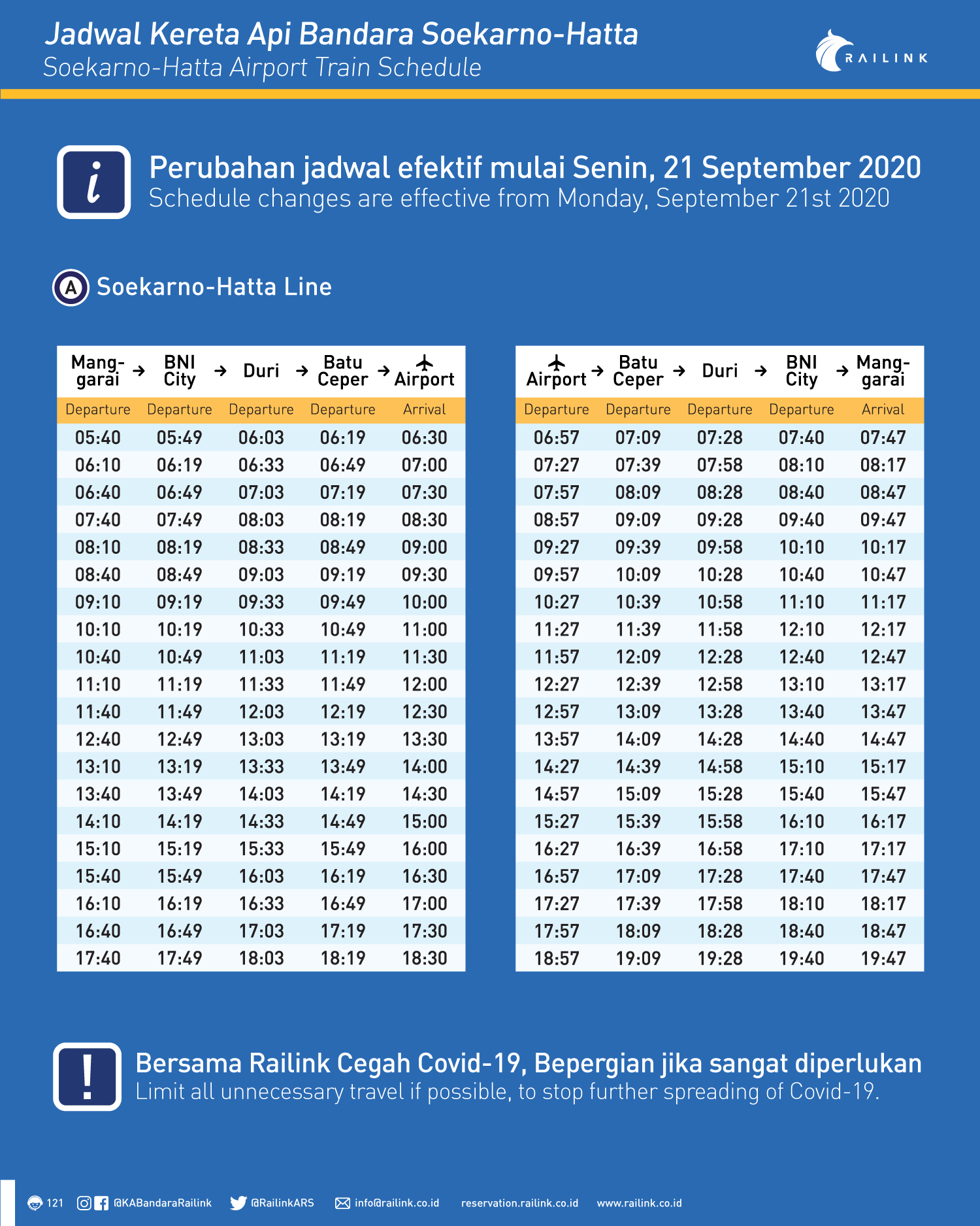 Adjustment of Airport Train Operational Schedule for 21 September 2020